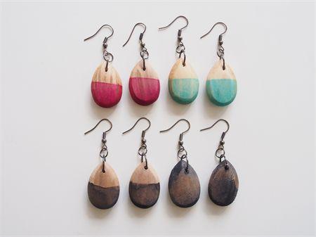hand painted timber tear drop earrings | objectsbybrooke | madeit.com.au