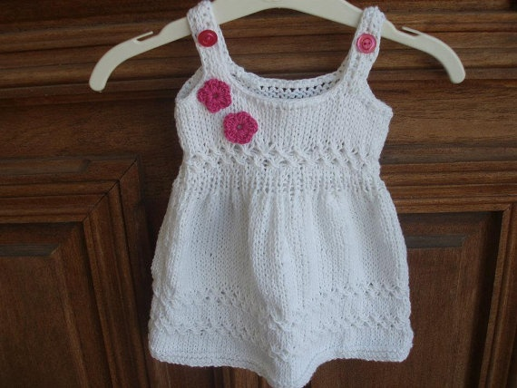 knitting white dress for baby girl 03 months by PinkFairyCreations, $34.00