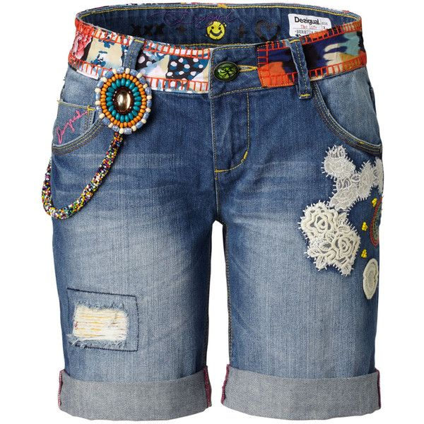 DESIGUAL Shorts ($110) ❤ liked on Polyvore featuring shorts, bottoms, pants, шорты, blau, destroyed shorts, desigual, torn shorts, distressed shorts and ripped shorts