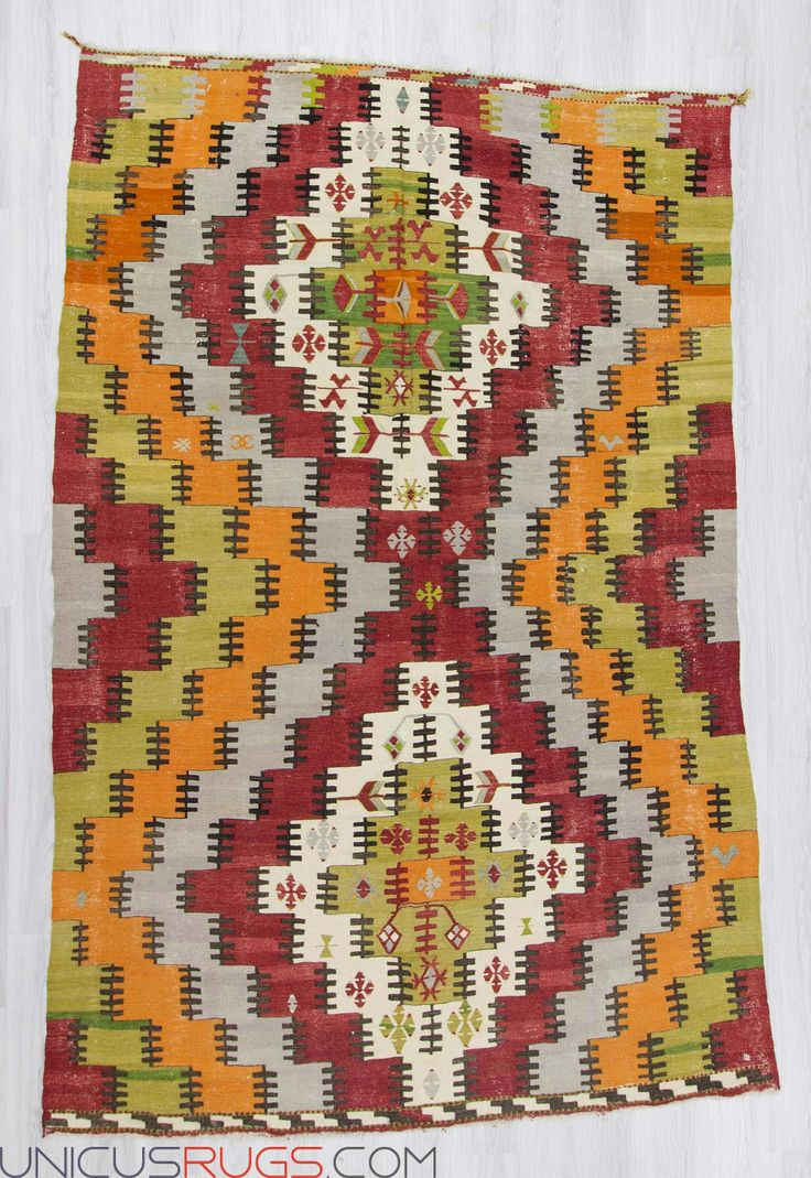 "Vintage large kilim rug from Afyon region of Turkey. In very good condition. Approximately 50-60 years old Width: 6' 11"" - Length: 10' 9""  Colorful Kilims"