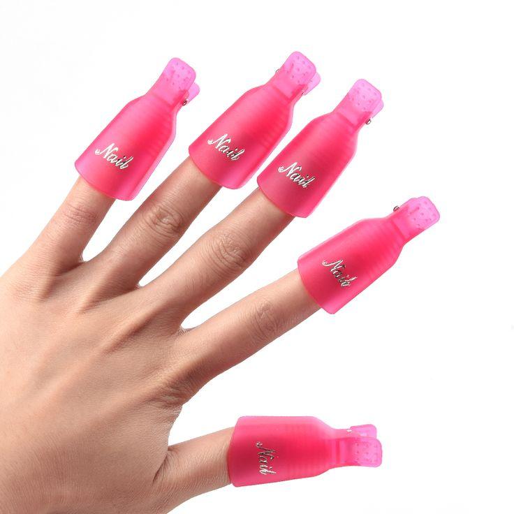 5 Pz/set Durevoli Riutilizzabili di Plastica Strumento di Rimozione Dello Smalto per Unghie Lacca Soak Off Wrap Nail Cleaner Nail Clip di Cap Remover Gel