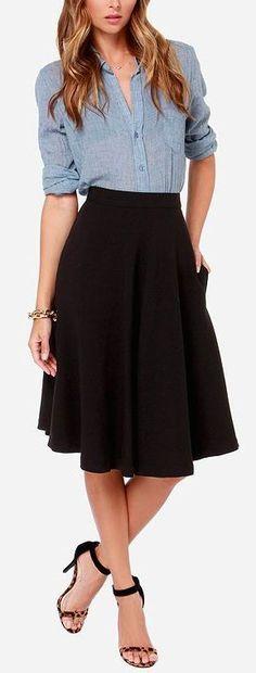 Chambray shirt + black midi skirt