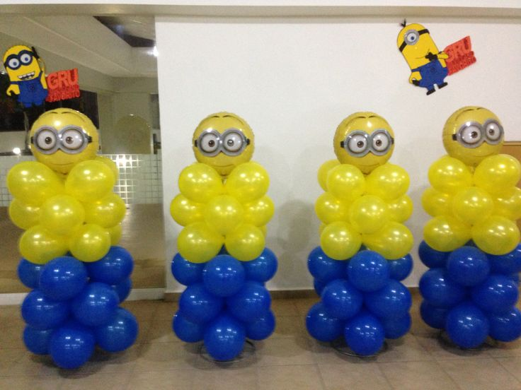 Minions balloon decor (stack balloons pushed into styrafone
