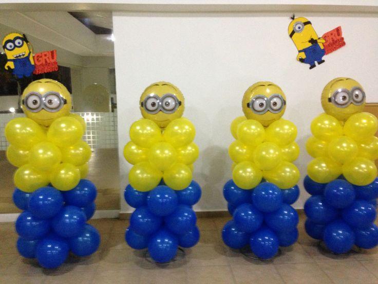 Minions balloon decor (stack balloons pushed into styrafone