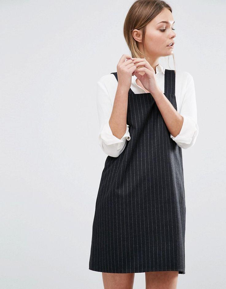 Image 1 ofNew Look Pinstripe Pinny Dress