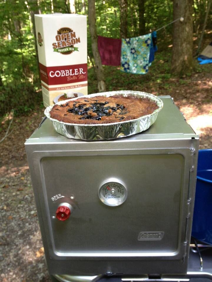 Blackberry cobbler for dessert while camping is easy with the Coleman ...