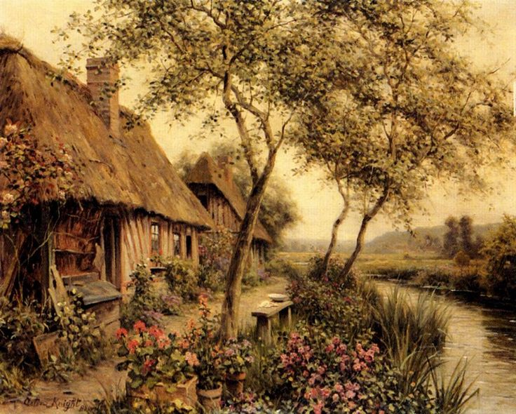 Louis Aston Knight | Louis Aston Knight Paintings - Louis Aston Knight Cottages Beside A ...