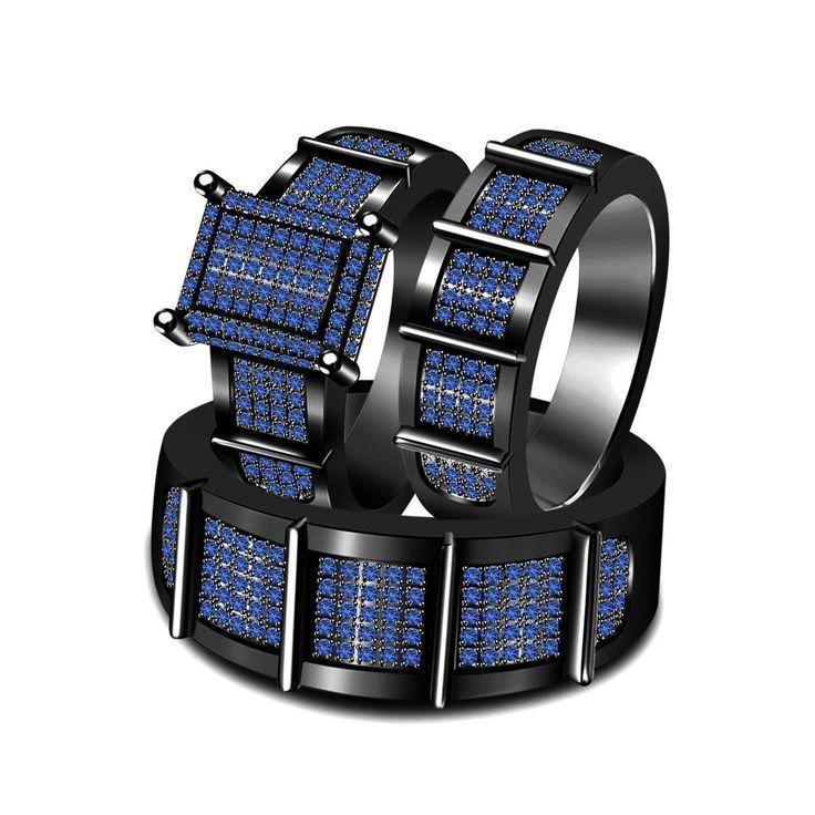 Blue Sapphire Trio Black Gold Finish Wedding Ring His And Her Matching Band Set #br925silverczjewelry #EngagementWeddingAnniversaryPartyDailyWear