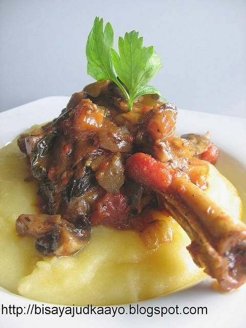 Spiced Lamb Shanks with polenta fix. A Jamie Oliver recipe.