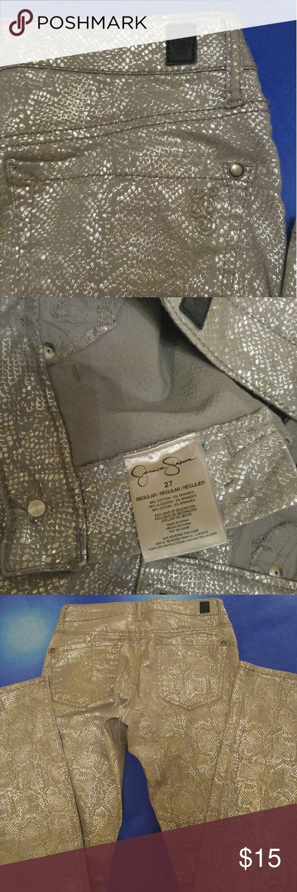 Jessica Simpson Kiss Me Skinny Jeans Figure- flattering Jessica Simpson Kiss me skinny jeans gray collor finished with chick silver metallic snakeskin print. Skinny fit through hips and thighs skinny legs. Used, like new in perfect condition. Size 27 Jessica Simpson Jeans Skinny