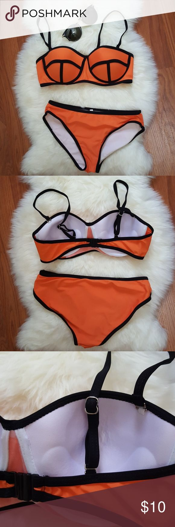 Orange Bikini Set Size: S Worn once, it was too small on me!  No rips/defects/pilling. In excellent condition besides some unknown highlighter marks in the bottom interior.   *this is not a Triangl bikini! Brand unknown. *selling as a set :) listing is only for the bikini. Swim Bikinis
