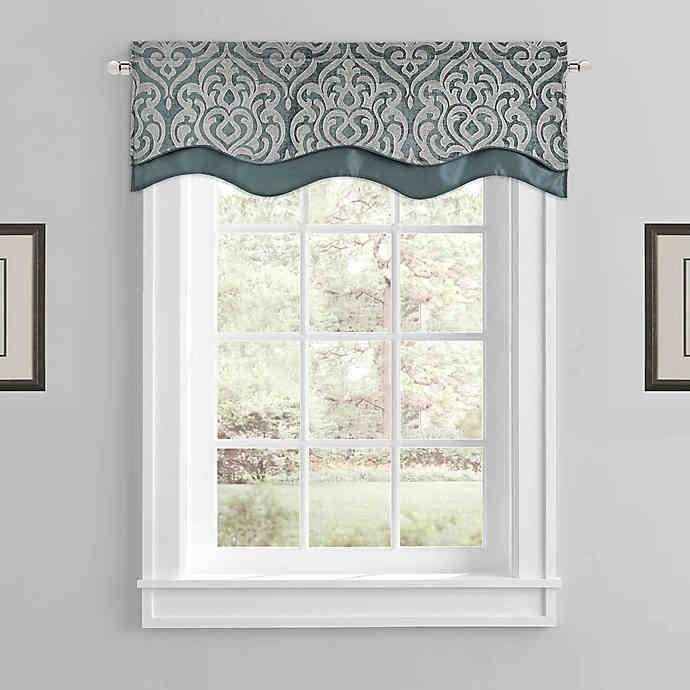 J Queen New York Sicily Window Valance In Teal Window Valance Valance Window Treatments Living Room #tailored #valances #for #living #room