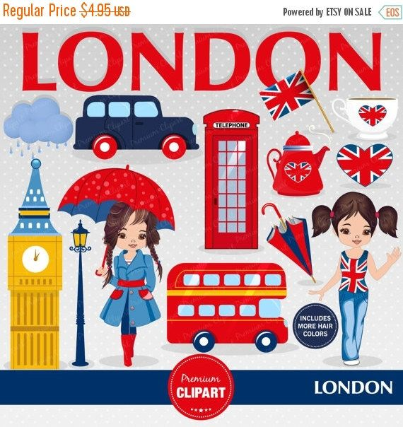 80% OFF SALE London clipart, Girl clipart, England clip art, British party, Travel clipart, London scrapbooking, Digital images - CA396 by PremiumClipart on Etsy