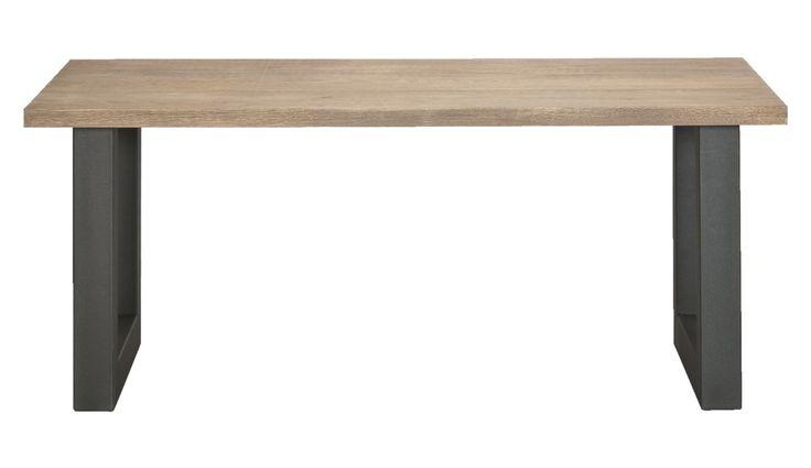 Eetkamertafel job stoere eettafel met landelijk houten blad en industrieel onderstel - Eettafel en houten eetkamer ...