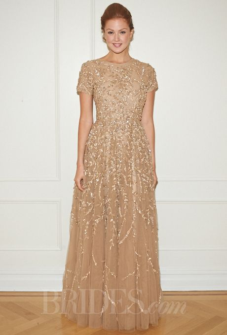 "Brides.com: . ""Jill Floral"" gold beaded A-line wedding dress with short sleeves and a high neckline, Randi Rahm"