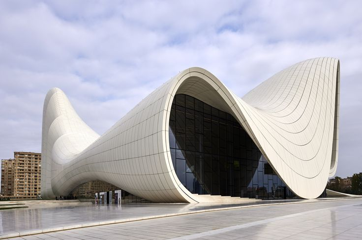 Clad in reinforced concrete and polyester, the 619,000-square-foot Heydar Aliyev Centre in Baku, Azerbaijan, is known for its swooping façade.