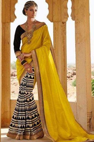 Yellow Bhagalpuri Silk Saree   Veeshack Shop