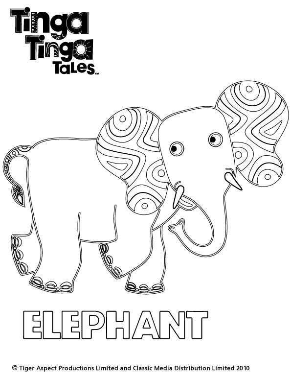 Tinga Tinga Tales Black and white picture of Elephant