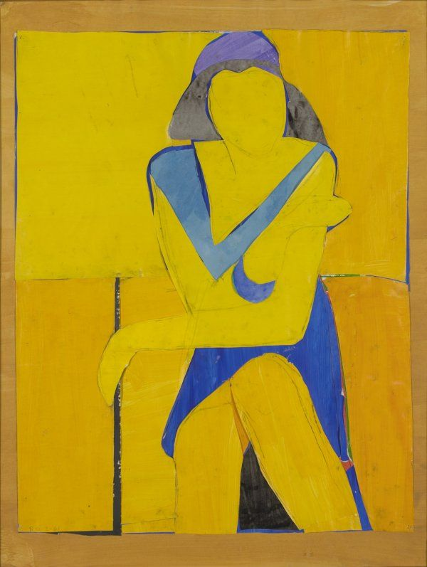 Richard Diebenkorn, Untitled (Yellow Collage), 1966, cut-and-pasted paper, gouache, and ink on paper