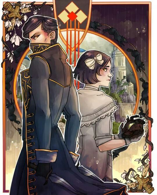 Emily as an adult and her as a child (Dishonored 2/Dishonored)