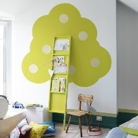 Cute bookshelf idea :) you can use recycled materials to put this together, and even better, use non-toxic paint!