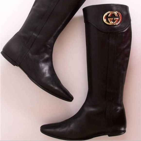 SALEGucci Boots PRICE WILL GO BACK TO $1,100 SUNDAYBrand New. Last pic is of the boots for sale. Never worn Black Gucci Riding Boots. If you have big calves they won't fit. Love them . Willing to consider all offer ONLY thru offer button. WILLING TO TRADE. TV $1350 Gucci Shoes Winter & Rain Boots
