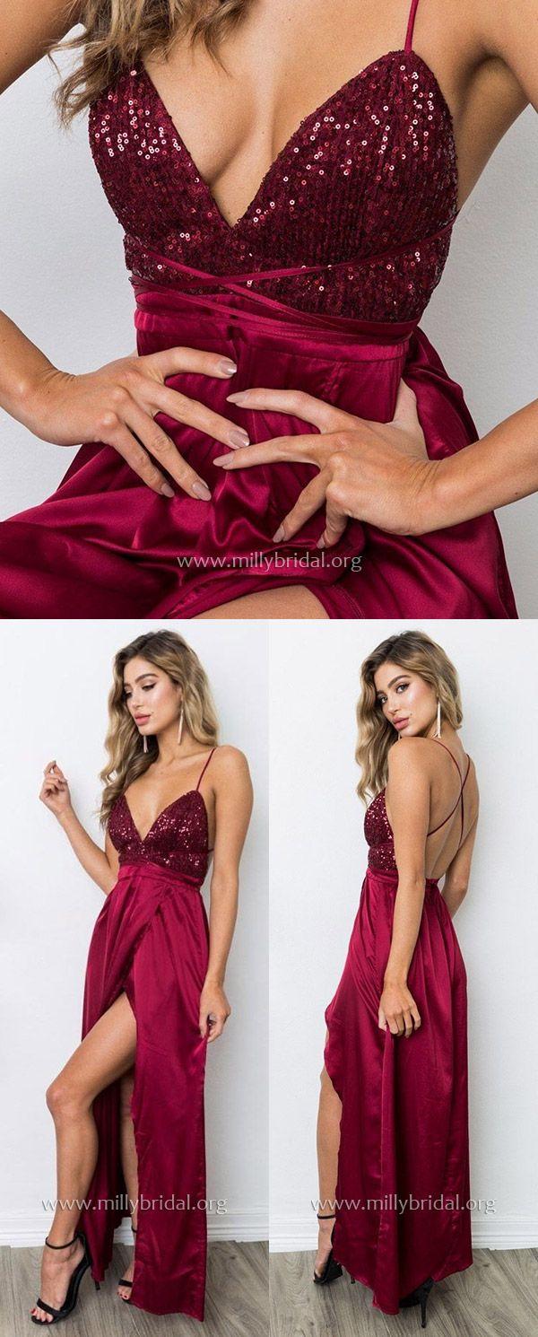 Burgundy prom dresseslong prom dresses sheathcolumn prom