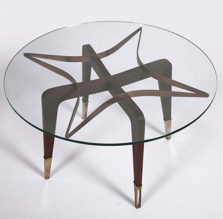Paolo Buffa; Wood, Glass and Brass Coffee Table, 1950s