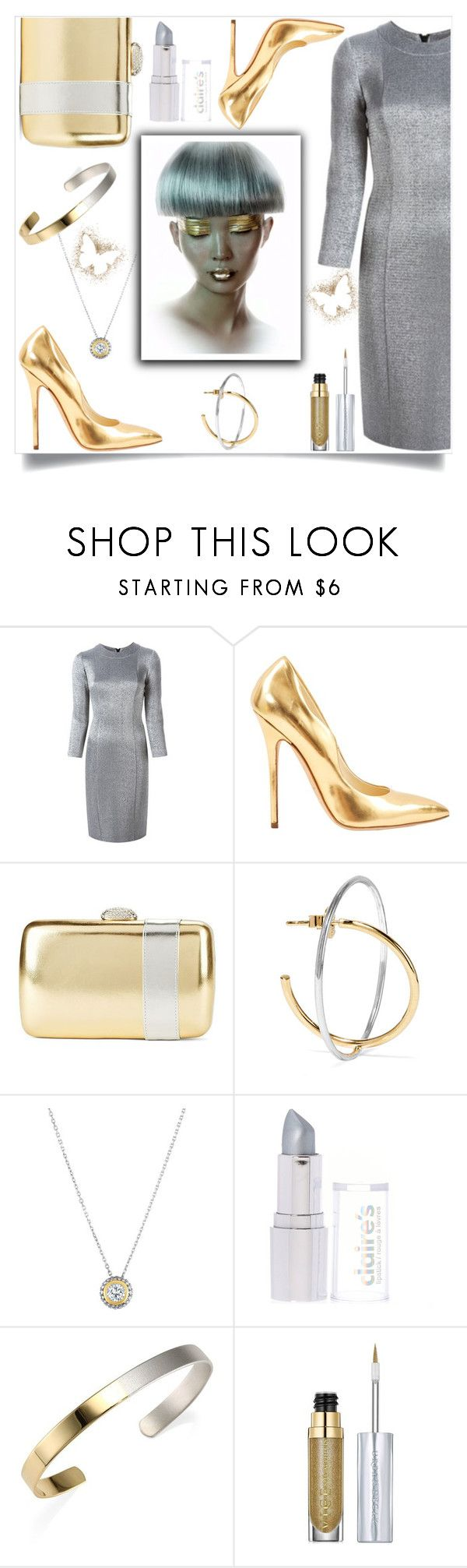 """""""Gold & Silver"""" by aharcaki on Polyvore featuring Gianluca Capannolo, Brian Atwood, Nina, Charlotte Chesnais, Phillip Gavriel, Stephanie Kantis and Urban Decay"""