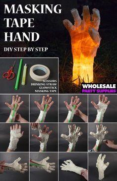 This creepy glow in the dark hand is the perfect DIY addition to add to your Halloween decor. This project takes approximately 15-20 minutes. You can try wrapping your own hand, but it's defi…