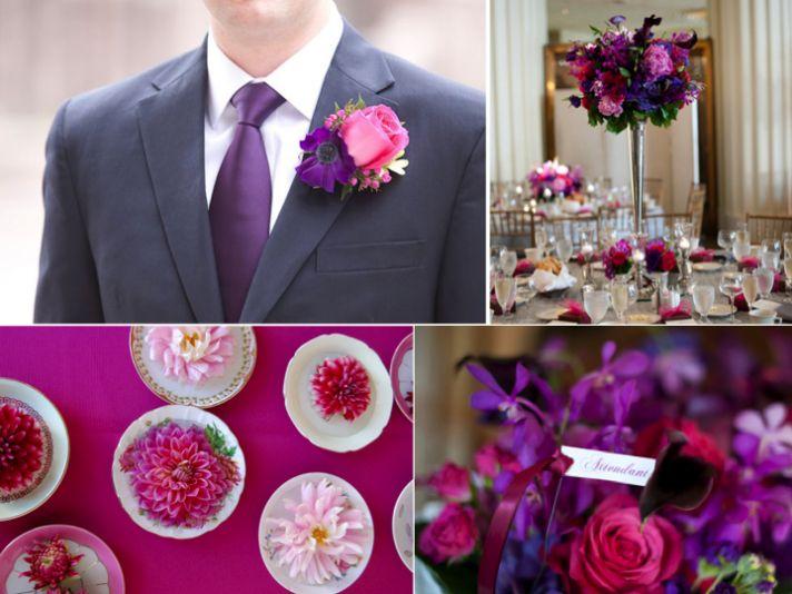 Whimsical Wedding Colors Deep Purple Hot Pink Onewed