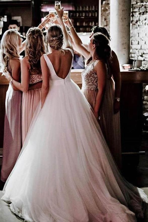 Simple Open Back A Line Ivory Princess Wedding Dresses Bridal Gown Dress With Bow LD1604