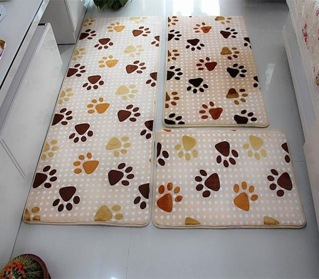 3 Pcs Bathroom Mat Set Anti Slip Bath Rug Stone Carpets Cartoon