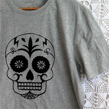 Mens Grey Sugar Skull Screen Print Tee - Size L