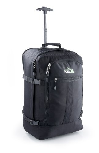 EASYJET-sized Cabin Max Flight Approved Carry on Trolley Backpack Bag - 44L Wheeled Luggage perfect for Easyjet 55 x 45 x 25Want to maximise your hand luggage without putting a strain on your body? Well the Cabin Max Trolley bag is for you! At a massive 44L with dimensions 55 x 40 x 25 cm and a lightweight 1.8KG it's the perfect travel companion.  Featuring 600D water resistant anti tear material. Heavy duty lockable zips. 1 Main compartment for th...