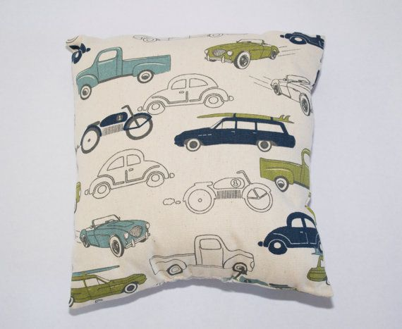 Vintage Blue Green Gray Ivory Car Transportation Pillow For Nursery or Child's Room 14x14 inches and additional sizes shapes patterns