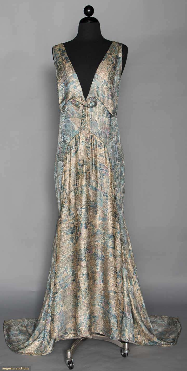 AQUA LAME EVENING GOWN, 1930s gold silk satin evening dress