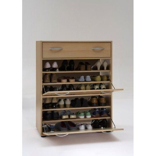 Wood Shoe Organizer   Large Beech Finish Wood Shoe Cabinet Storage Unit with Drawer and Two ...