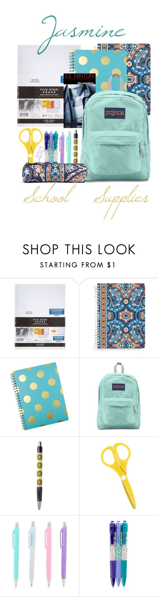 """""""Jasmine ~ School Supplies 2015"""" by snowj ❤ liked on Polyvore featuring interior, interiors, interior design, home, home decor, interior decorating, Mead, Vera Bradley and JanSport"""