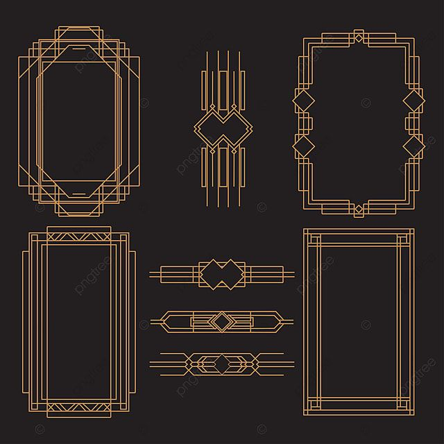 Set Of Art Deco Frame Element Decoration Frame Png And Vector With Transparent Background For Free Download Art Deco Deco Frame Template