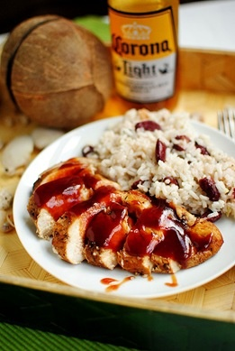 Jamaican Jerk Chicken with red beans and rice (use garlic infused oil and omit onion and beans for low fodmap)