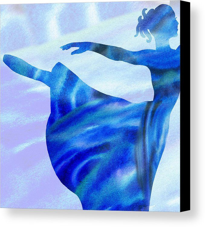 Dancing On A Cloud http://irina-sztukowski.pixels.com/products/2-watercolor-ballerina-silhouette-by-irina-sztukowski-irina-sztukowski-canvas-print.html #blue #watercolor #cloud #ballerina #dance #watercolour #silhouette