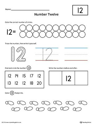 Number 12 Practice Worksheet. Help your child practice counting, identifying, tracing, and writing number 1 with this printable worksheet.