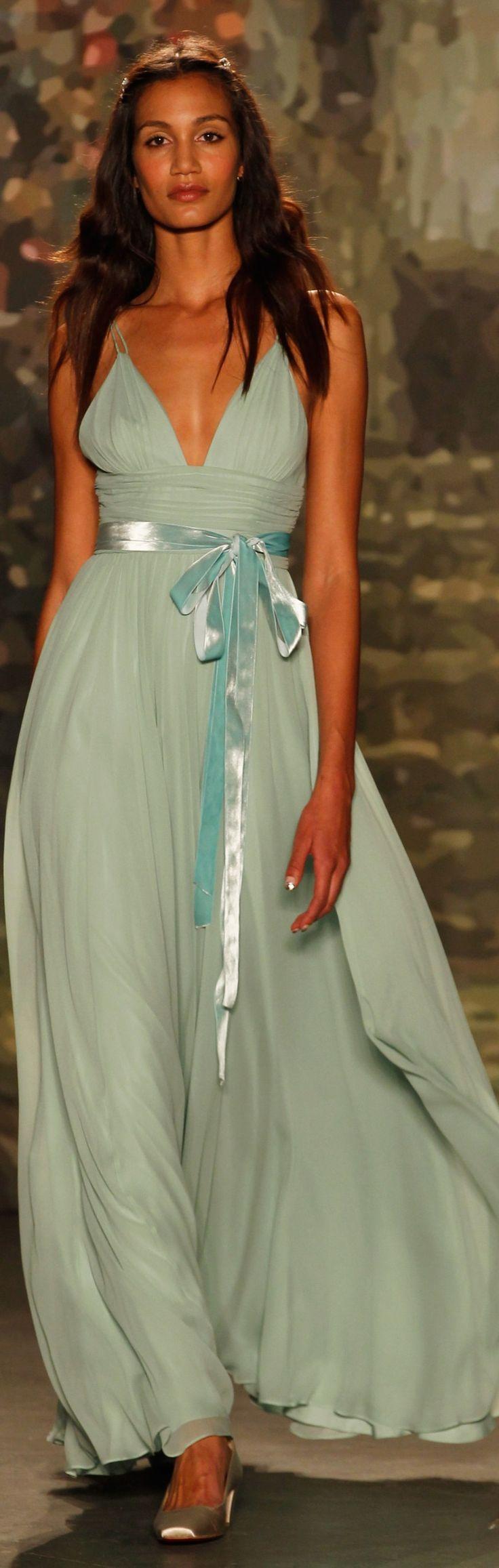 Jenny Packham ~ Mint Green Chiffon Bridal Gown, Spring 2016