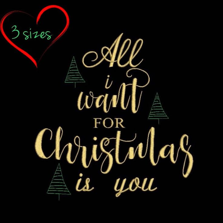 all i want for christmas is you machine embroidery design sayings designs digital instant download holiday pattern in the hoop file by SvgEmbroideryDesign on Etsy