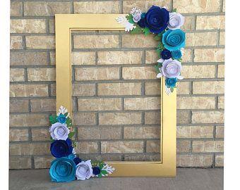 Marco Floral oro, prop de cabina de la foto, marco de boda de estilo de ramo de flor 3D