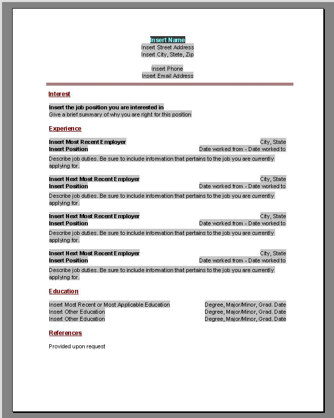 60 best images about MS Word Resume Templates – Printable Resume Template