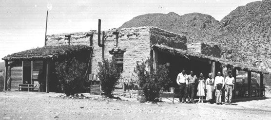Chata Sada's restaurant at Boquillas, Texas-circa 1936.