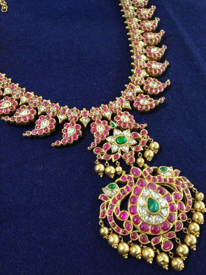 Indian Jewellery and Clothing: Ravishing designs of Mango mala/ Paisley design necklace with different gem stones from Big Shop, Ooty