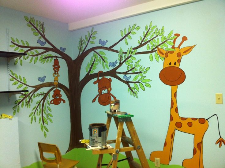 Intriguing Wall Painting Idea Applied In Corner Area Of Great Nursery  Decorating Ideas Equipped With Blue